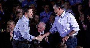 On the same team: Marco Rubio and Mitt Romney